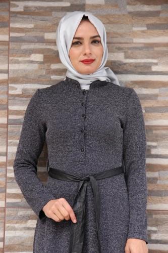 Modaebva - Hakim Yaka Önden Düğmeli Elbise-4073 (1)
