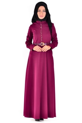 Modaebva - Hakim Yaka Sık Düğme Detaylı Kemerli Elbise Mürdüm-4037