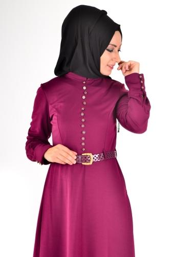 Modaebva - Hakim Yaka Sık Düğme Detaylı Kemerli Elbise Mürdüm-4037 (1)