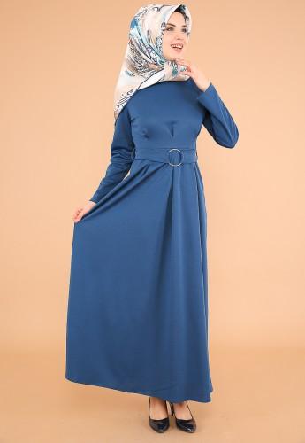 Halka Kemer Pileli Elbise-3517İndigo - Thumbnail
