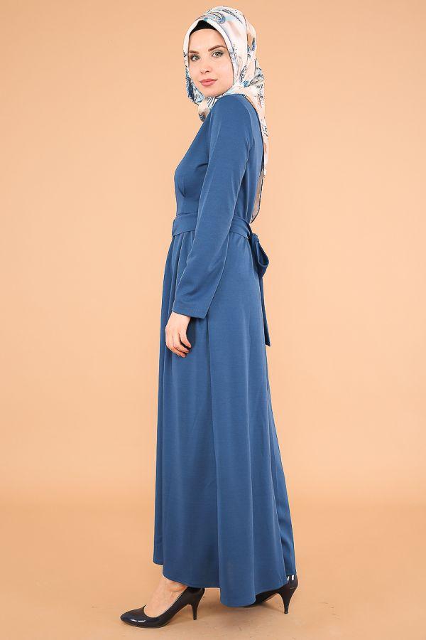 Halka Kemer Pileli Elbise-3517İndigo