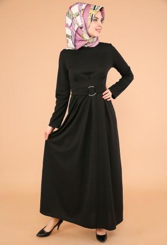 - Halka Kemer Pileli Elbise-3517siyah