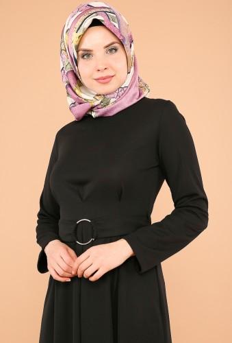 - Halka Kemer Pileli Elbise-3517siyah (1)