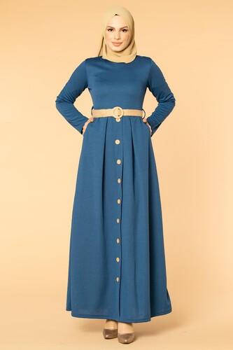 Modaebva - Hasır Kemerli Cepli Tesettür elbise-1725 İndigo