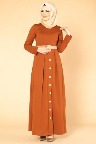 Modaebva - Hasır Kemerli Cepli Tesettür elbise-1725 Kiremit