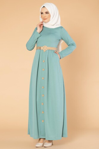 Modaebva - Hasır Kemerli Cepli Tesettür elbise-1725 Mintyeşil