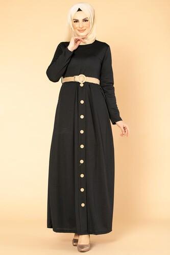 Modaebva - Hasır Kemerli Cepli Tesettür elbise-1725 Siyah