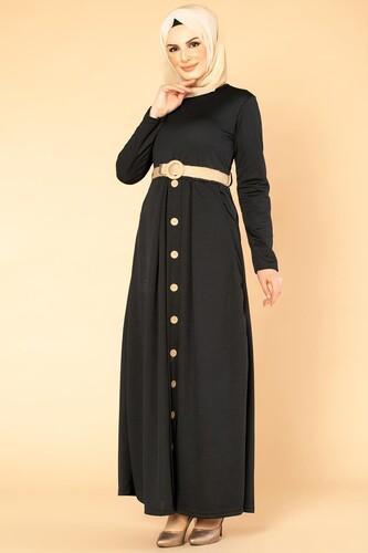 Hasır Kemerli Cepli Tesettür elbise-1725 Siyah - Thumbnail