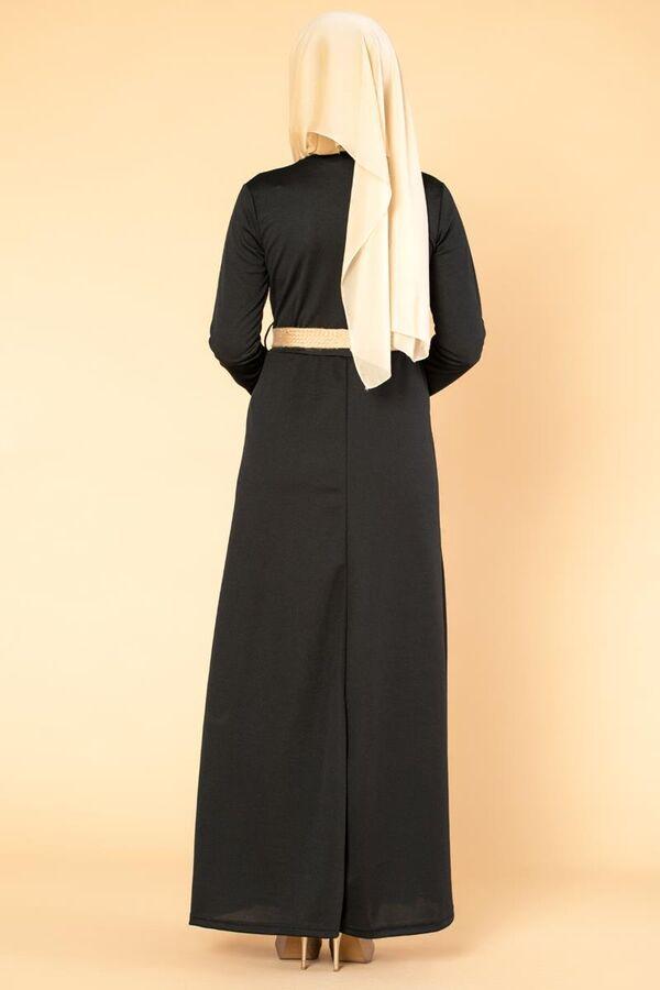 Hasır Kemerli Cepli Tesettür elbise-1725 Siyah