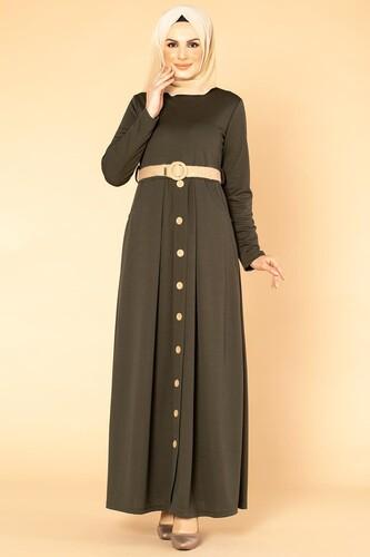 Modaebva - Hasır Kemerli Cepli Tesettür elbise-1725 Hakiyeşil