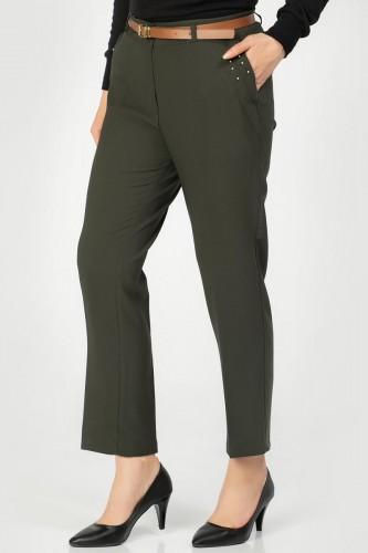 - İnci Detay Kemerli pantolon-3031 Hakiyeşil