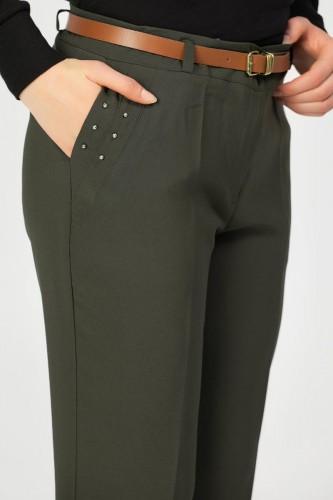 - İnci Detay Kemerli pantolon-3031 Hakiyeşil (1)