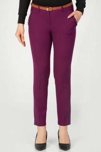 - İnci Detay Kemerli pantolon-3031 Mor