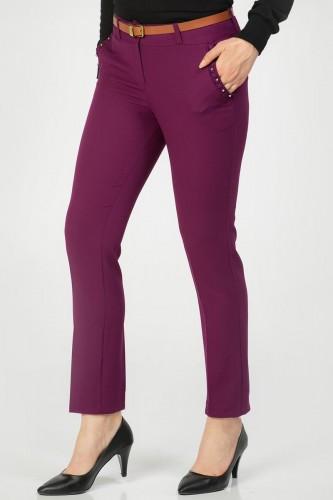 - İnci Detay Kemerli pantolon-3031 Mor (1)