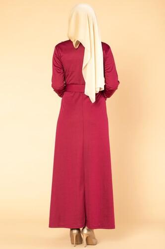 İnci Detay Kemerli Tesettür elbise- 1674 Şarabi - Thumbnail