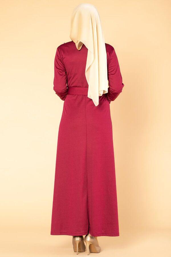 İnci Detay Kemerli Tesettür elbise- 1674 Şarabi