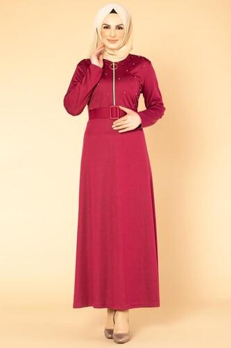 Modaebva - İnci Detay Kemerli Tesettür elbise- 1674 Şarabi