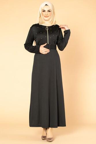 Modaebva - İnci Detay Kemerli Tesettür elbise- 1674 Siyah