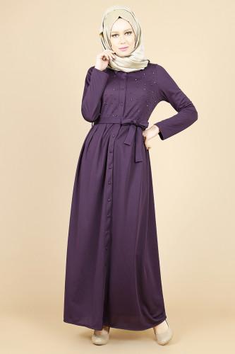 - İnci Detay Önden Düğmeli Elbise-Mor 00104