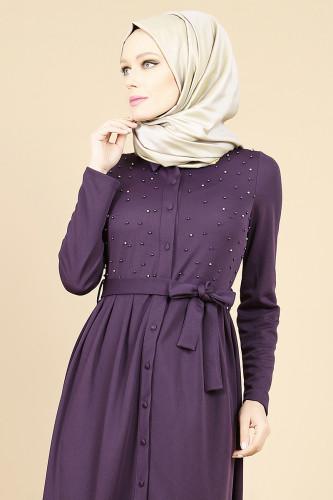 - İnci Detay Önden Düğmeli Elbise-Mor 00104 (1)