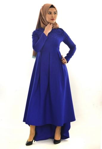 - İnci Detaylı Asimetrik Elbise Saks-ZRD1155