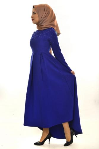 - İnci Detaylı Asimetrik Elbise Saks-ZRD1155 (1)