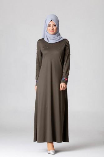 Modaebva - İnci Ve Nakış Detay Tesettür Elbise-3562Hakiyeşil