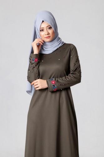 Modaebva - İnci Ve Nakış Detay Tesettür Elbise-3562Hakiyeşil (1)