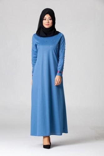 Modaebva - İnci Ve Nakış Detay Tesettür Elbise-3562indigo