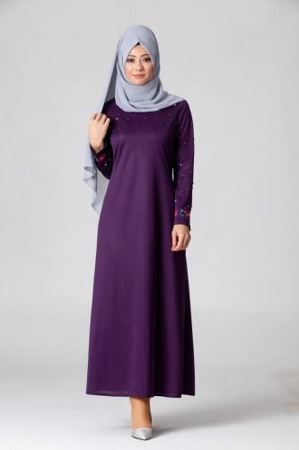 Modaebva - İnci Ve Nakış Detay Tesettür Elbise-3562Mor