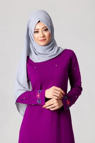 Modaebva - İnci Ve Nakış Detay Tesettür Elbise-3562Mürdüm (1)