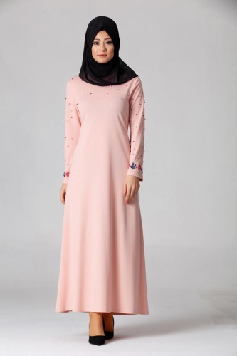 Modaebva - İnci Ve Nakış Detay Tesettür Elbise-3562Pudra