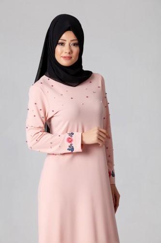 Modaebva - İnci Ve Nakış Detay Tesettür Elbise-3562Pudra (1)