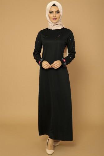 Modaebva - İnci Ve Nakış Detay Tesettür Elbise-3562Siyah