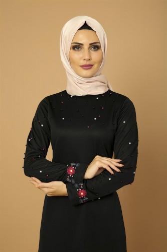 Modaebva - İnci Ve Nakış Detay Tesettür Elbise-3562Siyah (1)