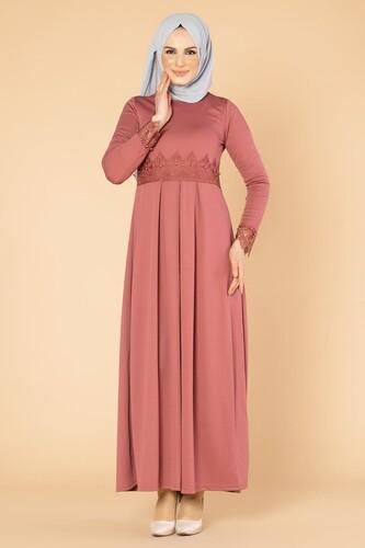 Modaebva - İncili Güpür Detay Tesettür Elbise-1659 Gülkurusu