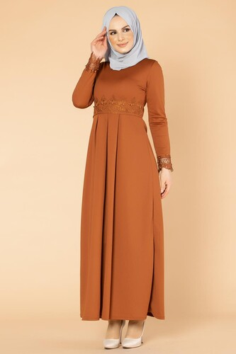Modaebva - İncili Güpür Detay Tesettür Elbise-1659 Kiremit