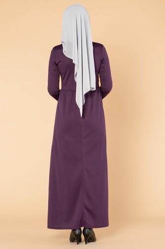 İncili Güpür Detay Tesettür Elbise-1659 Mor - Thumbnail
