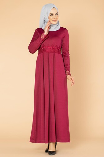 Modaebva - İncili Güpür Detay Tesettür Elbise-1659 Şarabi