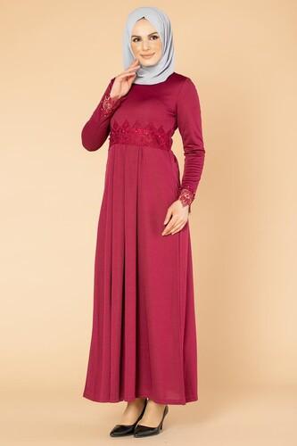 Modaebva - İncili Güpür Detay Tesettür Elbise-1659 Şarabi (1)