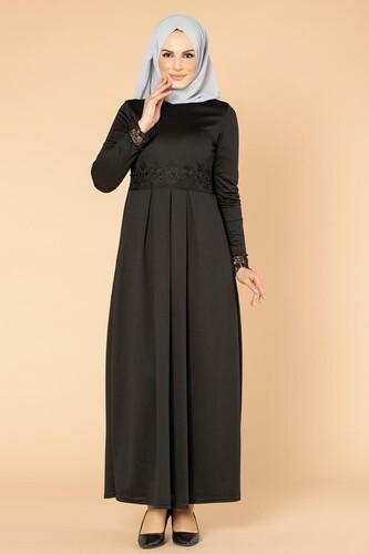 Modaebva - İncili Güpür Detay Tesettür Elbise-1659 Siyah