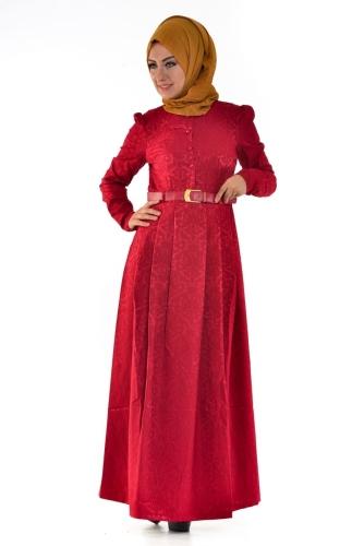 - Jakarlı Elbise Bordo -2016