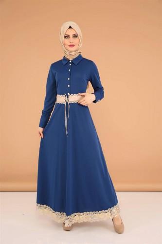 - Kalın Kemerli Güpürlü Elbise-3553 İndigo