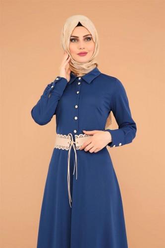- Kalın Kemerli Güpürlü Elbise-3553 İndigo (1)