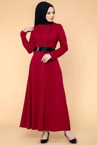 Modaebva - Kalın Kemerli İncili Tesettür Elbise-3572 Bordo