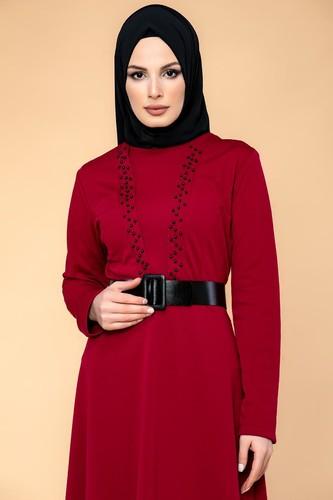 Modaebva - Kalın Kemerli İncili Tesettür Elbise-3572 Bordo (1)