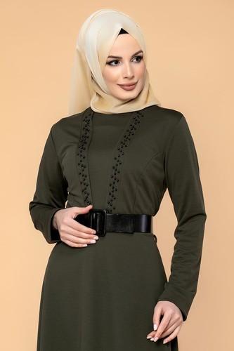 Modaebva - Kalın Kemerli İncili Tesettür Elbise-3572 Hakiyeşil (1)