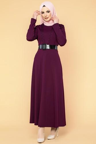 Modaebva - Kalın Kemerli İncili Tesettür Elbise-3572 Mürdüm