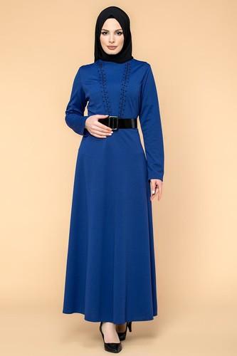 Modaebva - Kalın Kemerli İncili Tesettür Elbise-3572 Saksmavisi
