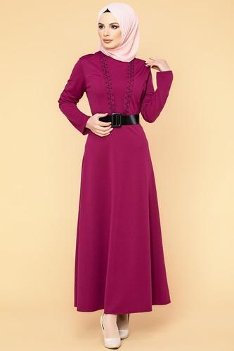 Modaebva - Kalın Kemerli İncili Tesettür Elbise-3572 Şarabi